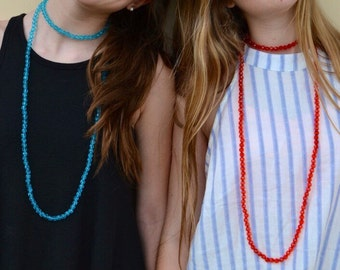 beaded wrap necklace - turquoise and red