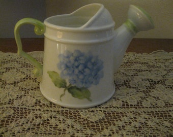 Shirley Roney Artist Signed Hand Painted Hydrangea Motif Watering Can NEW! #SR