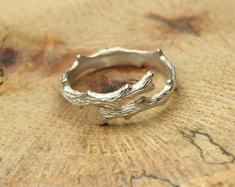 Twig Silver Ring Adjustable Branch Ring in Sterling Silver Nature Band