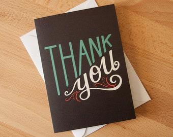 Thank You Greeting Card with envelope. Hand lettering illustration. Vintage design.
