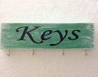 "Wooden Key holder 12"" X 3.5"", Key organizer, Key Rack, Distressed key holder, Key hanger, Keys, Decor, Home Decor, Gifts"