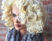 Curly Short Platinum Blonde Human Hair Blend Lace Front Wig 10""