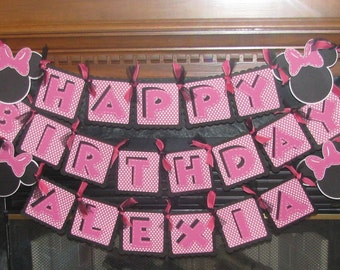 Minnie Mouse Style Happy Birthday Banner Personalized