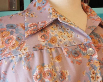 Land N Sea Sz 38 Polyester Floral Lavender Top with Pockets