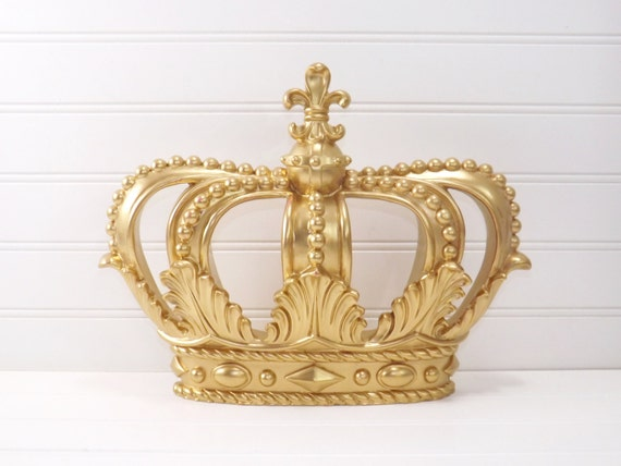Metal Wall Crown Decor : Gold princess crown wall decor little