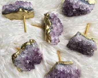 Metallic 18k Gold Amethyst Knobs