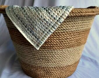 Striped Jute Rope Basket