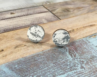 Hand Painted White with Silver specks stud earrings/ silver and white/ gifts for her/ cute earrings/