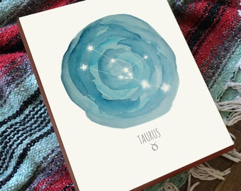 Taurus Constellation - Taurus Art - Taurus Print - Horoscope Art - Constellation Print - Wood Art Print
