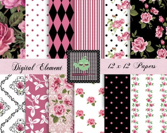 Digital Paper, Digital Scrapbook Paper, Shabby Chic Paper, Pink and Black Rose Digital Paper, Vintage Pink Roses Paper. No. V.7.16
