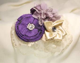 Baby Girl Headband, Ivory and Purple, Girl Headband, Flower Couture Headband