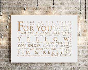Coldplay Yellow Lyrics Inspired Lyrics Print Love Song Wall Art Song Lyrics Anniversary Wedding Gift - PERSONALISED PRINT