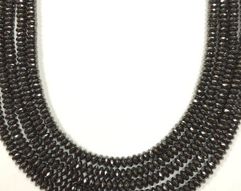 """15.5"""" Strand, Hematite Faceted Roundel, 4.5mm size, AAA Quality"""