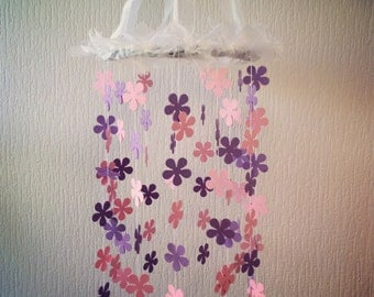 Handmade MOBILE, Purple, Pink ombre' Flower Mobile, Flower Mobile, Baby Flowers Mobile, Flower Paper Mobile, Paper Mobile, Home décor
