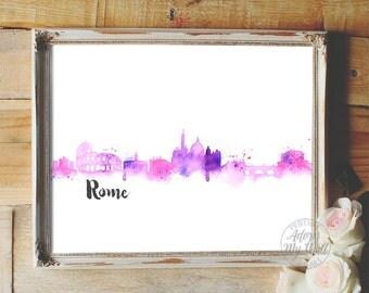 Cityscape, Rome, watercolour, skyline, wall art, home decor, abstract, art print, Italy, rome skyline, rome cityscape, Rome Italy, art print