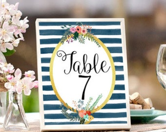 Wedding Table Numbers, Printable Table Numbers,Watercolor Stripes,  Navy Blue and Gold, Wedding Printables, Wedding Signage