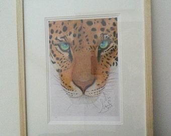 A3 Limited Edition Print of 'Aixa' an endangered big cat, a Jaguar drawn by Lynda Colley Originals.