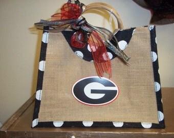 Handmade UGA polka dot bag!