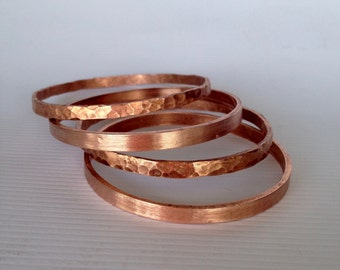 Gorgeous copper bangle bracelet - handmade hammered/textured or smooth finish free shipping! arizona jewelry unique gift favorite classy