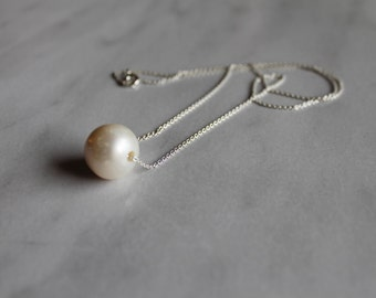 Sterling Silver Necklace with Large Cultured Freshwater Pearl