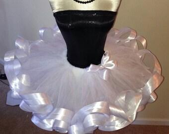 White ribbon tutu, white satin ribbon tutu, white ribbon tutu, satin ribbon tutu skirt, flower girl tutu skirt, wedding tulle skirt, white