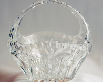 Vintage Wheel Cut Polished Lead Crystal Easter Basket