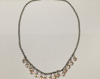 Pink beaded necklace cute simple