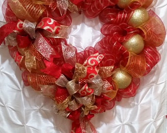 Oversized Red, Antique Gold and Silver Christmas Wreath, Christmas Wreath