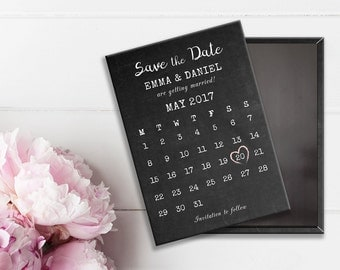Wedding Save the Date Magnet - Chalkboard Calendar with pastel pink