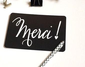 Carte Merci, carte de remerciement, remerciements, Gratitude, carte postale, carte postale, noir et blanc