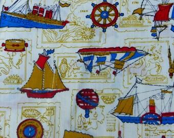 "Vintage Fabric Remmnant NAUTICAL Cotton 1960s  45"" x 54"""