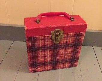 Vintage plaid 45 case