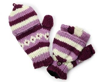 Wool Convertible Mittens, Texting Gloves, Hand Knit Glittens - Plum Striped - 1465U
