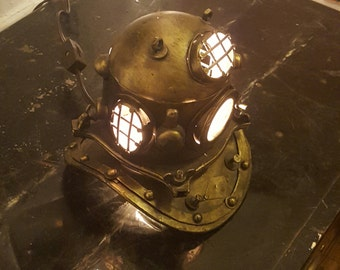 Nautical Scuba Divers Helmet Lamp Steampunk