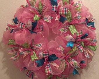 Easter Wreath, Spring Wreath, Easter Egg Wreath, Rabbit Wreath, Bunny Wreath, Pink Wreath, Mesh Wreath, Door Hanger, Ribbon Wreath, Wreath