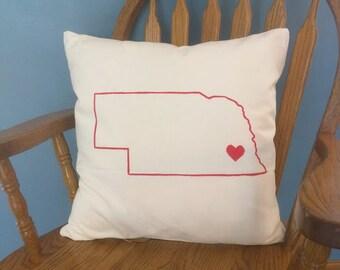 Nebraska Love Throw Pillow Cover