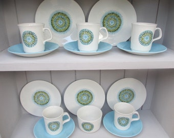 J & G Meakin Aztec Design Coffee Set Five Cups, Saucers, Plates  Sugar Bowl