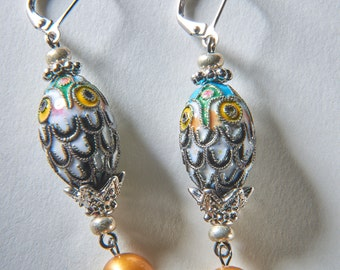 Owl Cloisonné Earrings