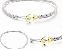 Anchor Anklet - Macrame Anklet - Nautical Anklet - Nautical Jewelry - Anchor Jewelry - Anklet - Beach Anklet - Unisex -Anchor Macrame Anklet