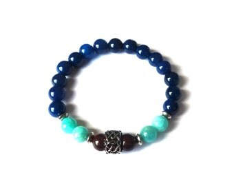 Amazonite, agate & jasper gemstone bracelet