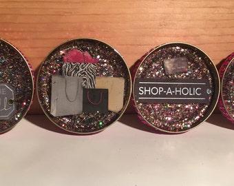 Set of four shopaholic coasters