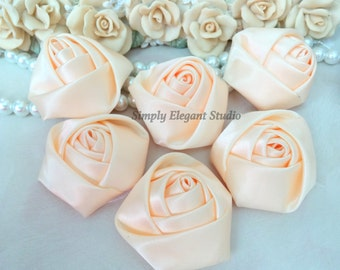 "1.8"" Peach Satin Roses, 3 Vintage Rolled Fabric Rosettes, Baby Headband Flowers, Flower Supply"