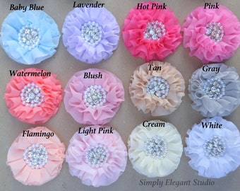 10 Assorted Chiffon Flowers with Pearls and Rhinestones, Ruffled Fabric Flowers, Headband Flowers,