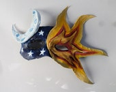 Sun and Moon Half Mask, space, cosmos, stars, masquerade style, paper mache, wearable