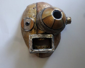 Bugeyed Robot Mask, paper mache, cosplay, wearable, robot, cyborg
