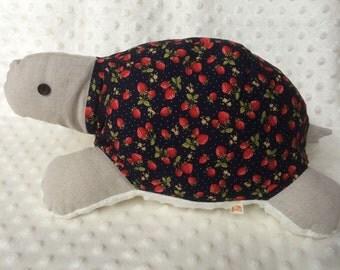 Turtle plush, handmade plush turtle, large turtle, White minky,  blue, strawberries, soft