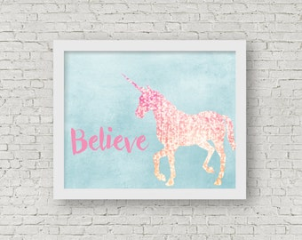 Printable Wall Art - Believe in Unicorns - Instant Download