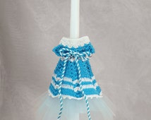"""18"""" Easter Greek Candle Lambada Decorated with a Greek dress for a girl"""