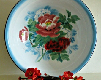 Vintage Shabby Chic Very Large Bumper Harvest Enaml Bowl with Roses