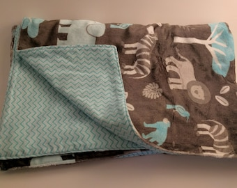 Minky and Flannel Baby Blanket with Safari Theme